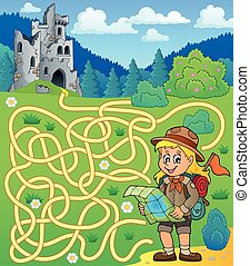 Maze 4 with scout girl - eps10 vector illustration.