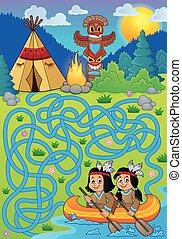 Maze 26 with Native Americans in boat - eps10 vector...