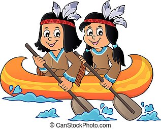 Native American children in boat theme 1