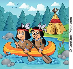 Native American children in boat theme 2 - eps10 vector...