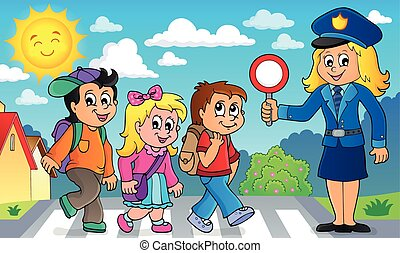 Pupils and policewoman image 2 - eps10 vector illustration.