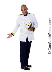 Attractive African American cruise ship steward, salute -...