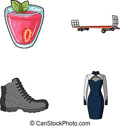 vegetarianism, shoes and other web icon in cartoon style....