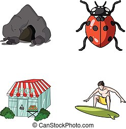 mountain, trade and other web icon in cartoon style. insect,...