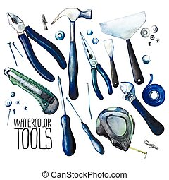 Collection of watercolor tools