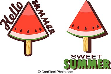 Watermelon Popsicle Stick - Vector illustration of...