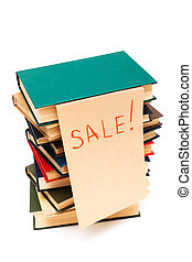 sale of books - sale of old books on white background