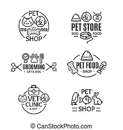 Pet Shop Badges or Labels Line Art Set. Vector