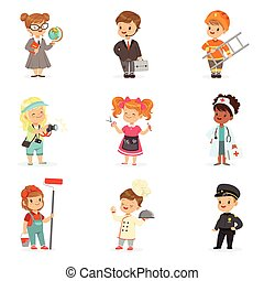 Set of cartoon professions for kids. Smiling little boys and girls in work wear vector illustrations