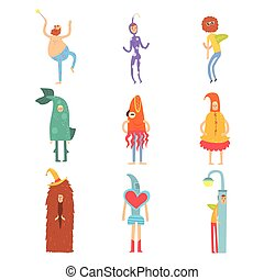 Set of people in funny costumes, man characters dressed in different costumes for childrens party vector Illustrations