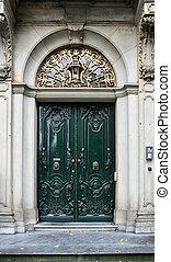 Utrecht - Decorative wooden door in Utrecht, Holland Old...