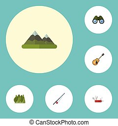 Flat Icons Zoom, Hill, Music And Other Vector Elements. Set...