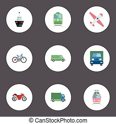 Flat Icons Metro, Motorbike, Aircraft And Other Vector Elements. Set Of Vehicle Flat Icons Symbols Also Includes Freight, Plane, Streetcar Objects.