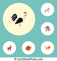 Flat Icons Moose, Jackass, Chimpanzee And Other Vector...
