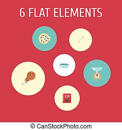 Flat Icons Cooking Notebook, Pepperoni, Fried Poultry And Other Vector Elements. Set Of Kitchen Flat Icons Symbols Also Includes Cooking, Soup, Spoon Objects.