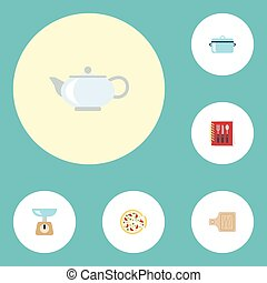 Flat Icons Casserole, Pepperoni, Breadboard And Other Vector...