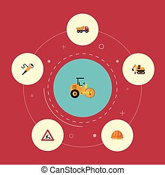 Flat Icons Tractor, Steamroller, Caution And Other Vector...