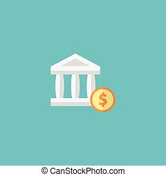 Flat Icon Account Element. Vector Illustration Of Flat Icon Bank Isolated On Clean Background. Can Be Used As Account, Bank And Dollar Symbols.