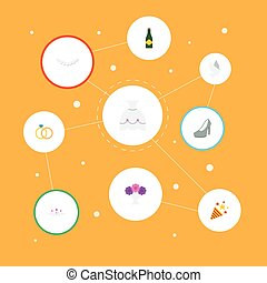Flat Icons Accessories, Jewelry, Engagement And Other Vector Elements. Set Of Marriage Flat Icons Symbols Also Includes Accessories, Bride, Dress Objects.