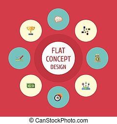 Flat Icons Cash, Support, Design And Other Vector Elements....