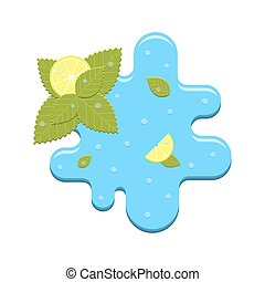 Vector mint and lemon in water - Vector realistic mint and...
