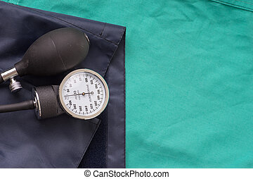 Blood pressure device located on the hospital green...