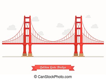 Golden Gate Bridge illustration. Flat style design isolated...