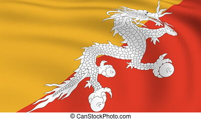 Flying Flag of Bhutan | LOOPED |