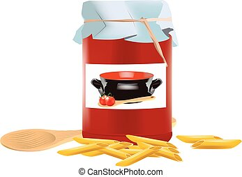 Pasta stuffed pens with jar of tomato extract