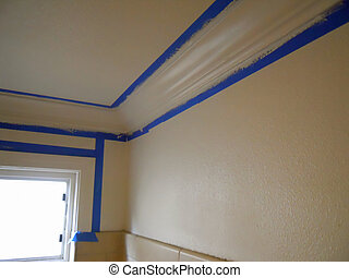 replacing and painting crown molding in bathroom