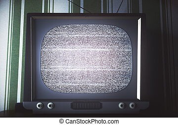 Obsolete TV with empty screen front