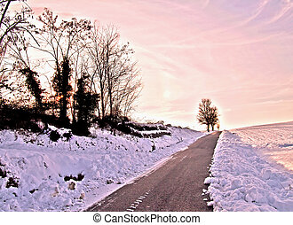Snow landscape with pink colors of the sunset