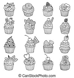 Doodle set of cupcakes. Hand drawn vector illustrations isolate on white