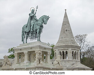 Fishermans Bastion in Budapest - statue around the...