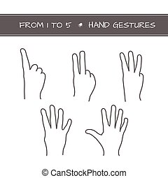Set of isolated sketches of hands with count from 1 to 5. -...