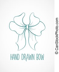 Hand drawn sketch of blue festive bow.