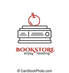 Lined logo of book store. Books stack, red apple.