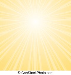 Background with shining star with divergent bundle of beams in yellow colors.
