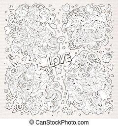 Sketchy vector doodles cartoon set of Love designs