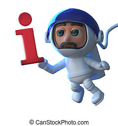 3d Cartoon astronaut floats in space with an information...