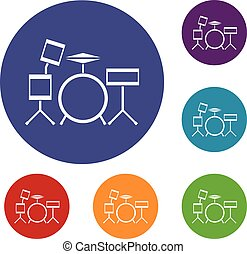 Drum kit icons set in flat circle reb, blue and green color...
