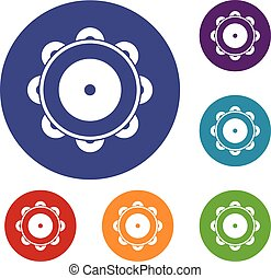 Tambourine icons set in flat circle reb, blue and green...