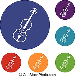 Cello icons set in flat circle reb, blue and green color for...