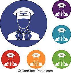 Pilot icons set