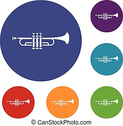 Brass trumpet icons set in flat circle reb, blue and green...
