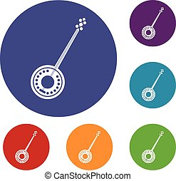 Banjo icons set in flat circle reb, blue and green color for...