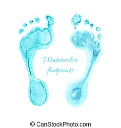 Watercolor children foots - Watercolor light blue print of...