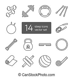 Set of isolated thin lined outlined icons for fitness and sport