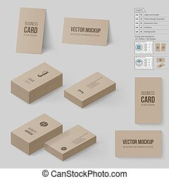 Branding Mock Up - Brown Business Cards Template. Corporate...