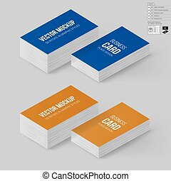 Branding Mock Up - Business Cards Template in Blue and...